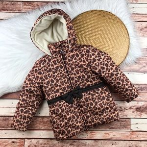 Girls size 4 leopard print winter jacket w/ bow